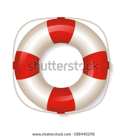 Life buoy on white background. Vector Illustration.