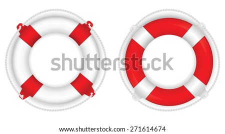 Life buoy- vector drawing isolated on white background - stock vector