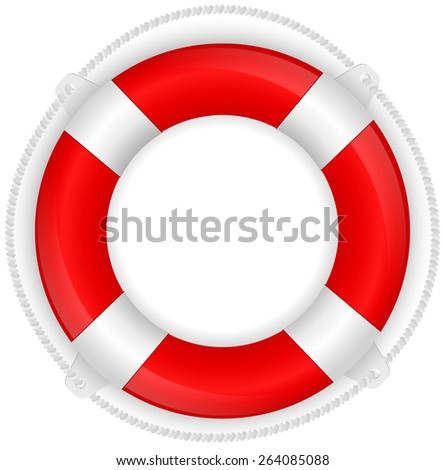 Life buoy. Vector illustration isolated on white background - stock vector
