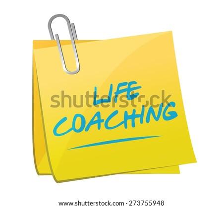 life coaching memo post sign icon concept illustration design over white - stock vector