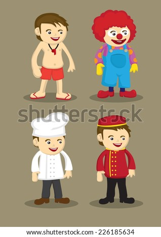 Life guard or swimming coach, clown, chef or cook and bellboy or hotel porter in uniform and work attire. Professionals and occupations vector illustration isolated on brown plain background - stock vector