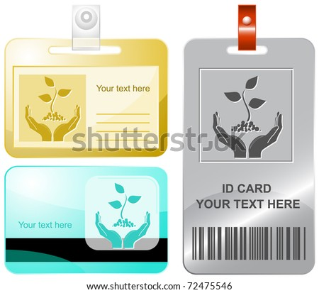 life in hands. Vector id cards.