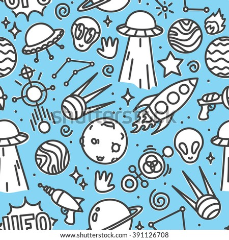 Life in space seamless vector pattern blue