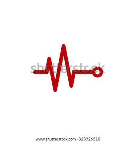 Life line - Heart beat, cardiogram. Red flat icon. Vector illustration symbol - stock vector