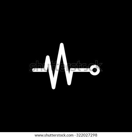 Life line - Heart beat, cardiogram. Simple flat icon. Black and white. Vector illustration - stock vector