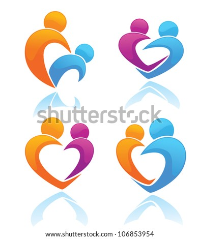 life, love and people, vector collection of sign and symbols - stock vector