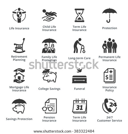 Life Protection Icons - stock vector