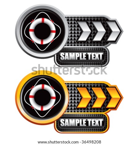 life ring on black and gold web arrow buttons - stock vector