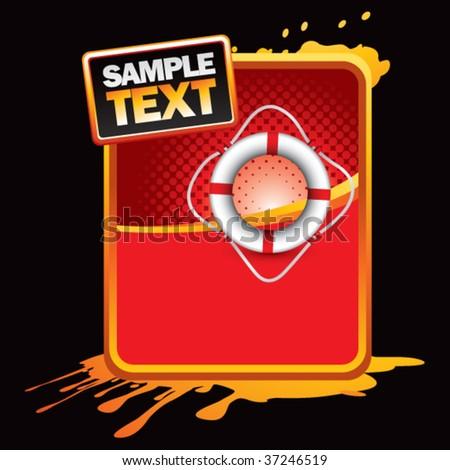 life ring on orange splattered advertisement - stock vector