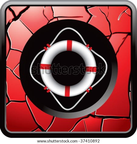 life ring on red cracked web button - stock vector