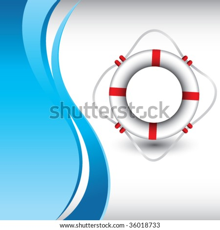 life ring on vertical blue wave backdrop - stock vector