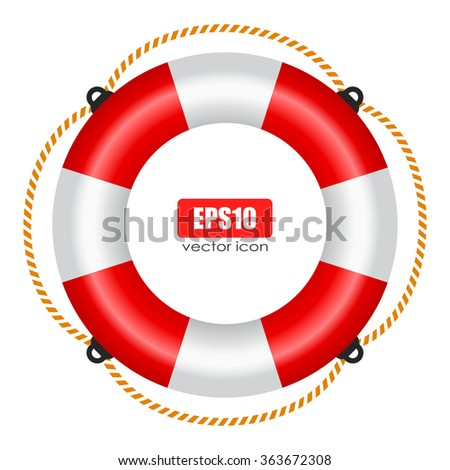 Life ring vector icon with rope isolated on white background - stock vector