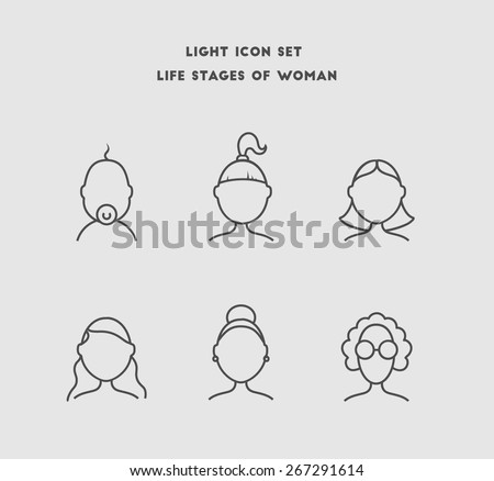 Life stages of woman, age categories. Vector icon set. - stock vector