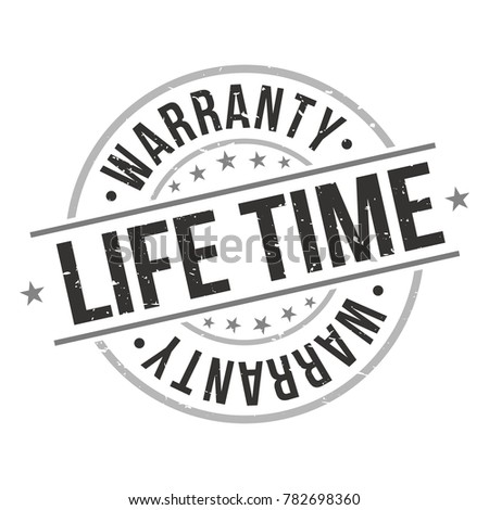 Life Time Warranty Stamp Circle Round Design Five Stars
