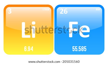 Life Word Made Of Periodic Table Elements Lithium And Iron - stock vector