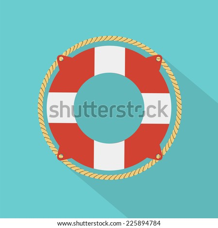 lifebouy icon flat style - stock vector