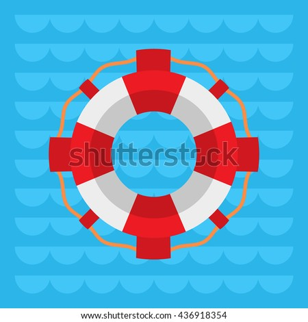 Lifebuoy flat color vector icon, Marine safe theme, blue sea waves flat style background,  life preserver sign, red and white color ring buoy illustration - stock vector