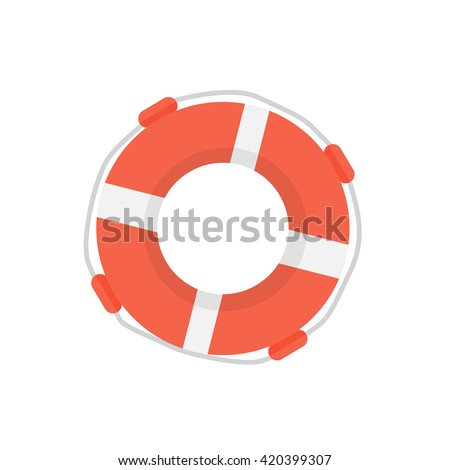Lifebuoy flat design illustration. Lifebuoy silhouette modern cartoon isolated. Web site page and mobile app design element.