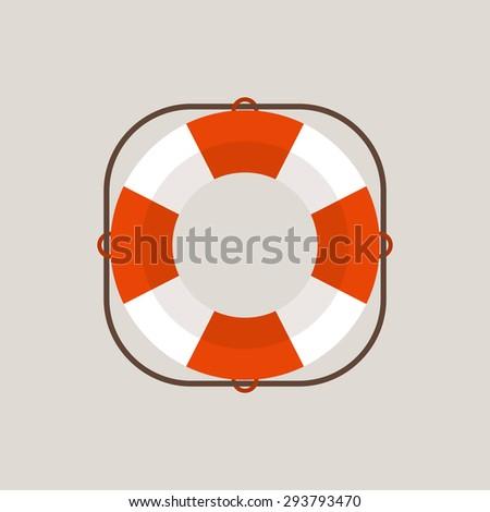 Lifebuoy flat design style vector icon - stock vector