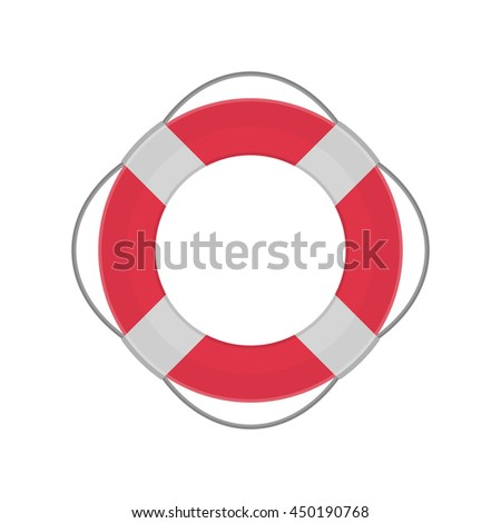 Lifebuoy flat icon. Lifebuoy silhouette. Web site page or mobile app design element. Vector illustration of life ring isolated on white background.