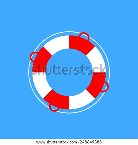 Lifebuoy flat web icon. - stock vector