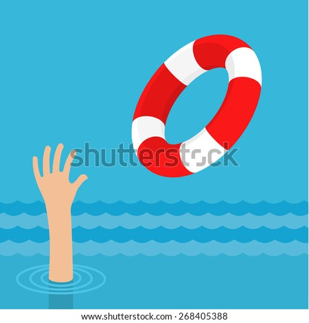 Lifebuoy for drowning man in sea or ocean water. Insurance concept. Flat design - stock vector