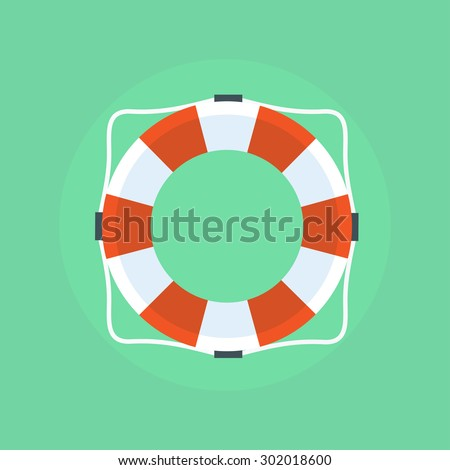Lifebuoy icon in flat style isolated on a light background. Simple vector life ring or life preserver symbol.  - stock vector