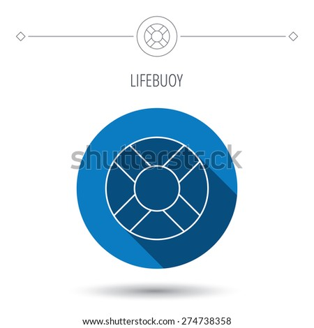 Lifebuoy icon. Lifebelt sos sign. Lifesaver help equipment symbol. Blue flat circle button. Linear icon with shadow. Vector - stock vector