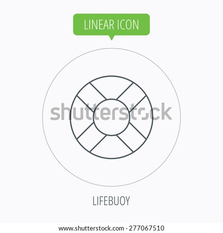 Lifebuoy icon. Lifebelt sos sign. Lifesaver help equipment symbol. Linear outline circle button. Vector - stock vector