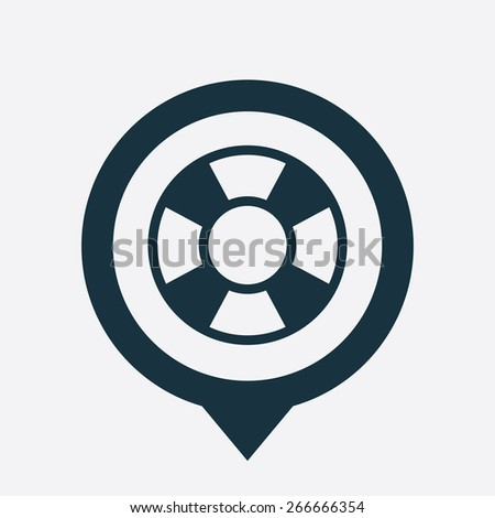 lifebuoy icon map pin on white background  - stock vector
