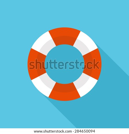 Lifebuoy icon, modern minimal flat design style. Life belt vector illustration with long shadow, lifesaver symbol - stock vector