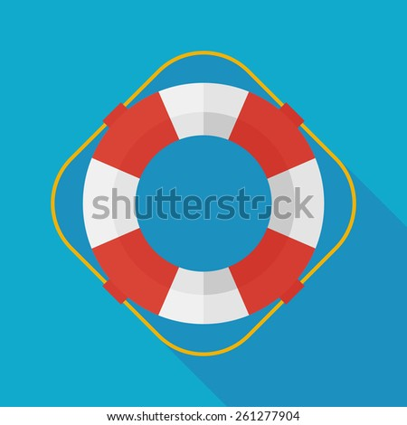 lifebuoy icon with long shadow. flat style vector illustration - stock vector