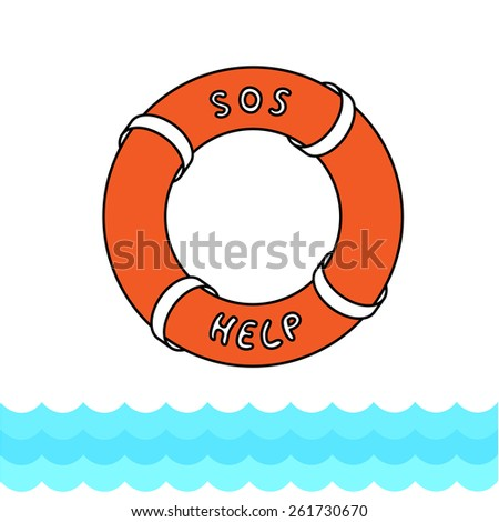 Lifebuoy in line style with fill with inscription sos and help with place of your text. The buoy is above blue waves pattern. - stock vector