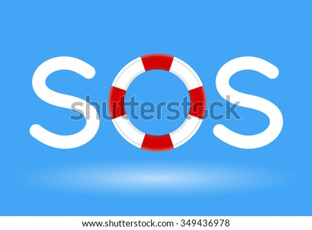 Lifebuoy / life preserver with SOS text concept on blue background. Vector illustration. - stock vector