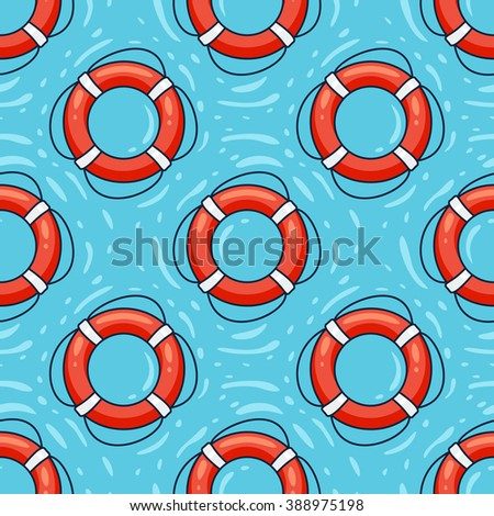 Lifebuoy on water seamless vector pattern