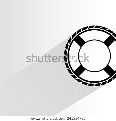 lifebuoy on white background, flat and shadow theme - stock vector