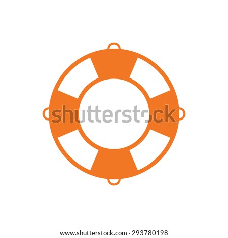 Lifebuoy outline color icon, modern minimal flat design style vector illustration, lifebelt symbol isolated on white background - stock vector