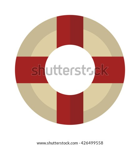 Lifebuoy vector icon symbol lifesaver swim. Isolated lifebuoy preserver icon object concept sign guard. Beach water ship float lifebuoy. Stripped lifebuoy emergency help survival equipment protection. - stock vector