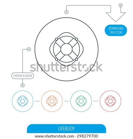 Lifebuoy with rope icon. Lifebelt sos sign. Lifesaver help equipment symbol. Line circle buttons. Download arrow symbol. Vector - stock vector