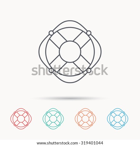 Lifebuoy with rope icon. Lifebelt sos sign. Lifesaver help equipment symbol. Linear icons on white background. Vector - stock vector