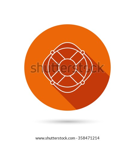 Lifebuoy with rope icon. Lifebelt sos sign. Lifesaver help equipment symbol. Round orange web button with shadow. - stock vector