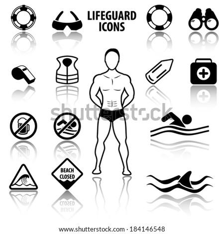 Lifeguard and beach warning signs icons - stock vector