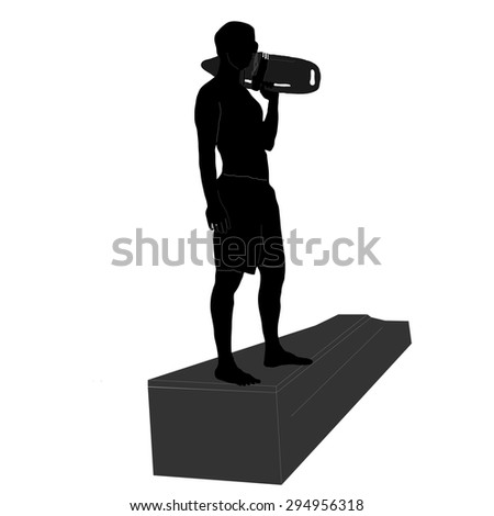Lifeguard at the pool, sea or river, vector silhouette illustration isolated on white background.
