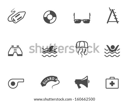 Lifeguard icons in black & white - stock vector