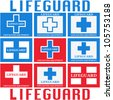 Lifeguard sign set. Isolated on white. Vector - stock vector