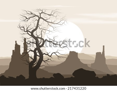 Lifeless landscape with old huge tree and mountains over sunset. Vector illustration.  - stock vector