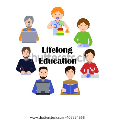 Lifelong Education Concept. Studying Man of all Generations. Ability to learn in each human age. Preschool, Primary School, Secondary School, Bachelor and Master at University, PhD, Postdoctoral Study - stock vector