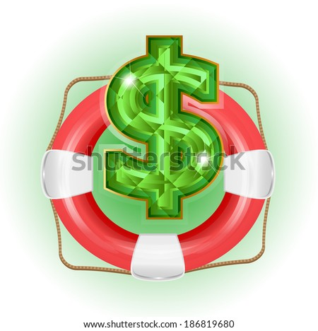 Lifesaver with dollar symbol. - stock vector
