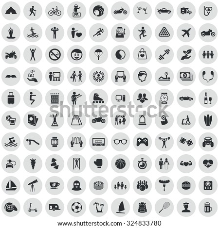 lifestyle 100 icons universal set for web and mobile  - stock vector