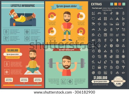 Lifestyle infographic template and elements. The template includes illustrations of hipster men and huge awesome set of thin line icons. Modern minimalistic flat vector design. - stock vector